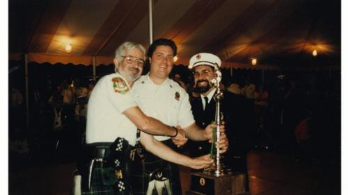 The Pipe Band gets a trophy.