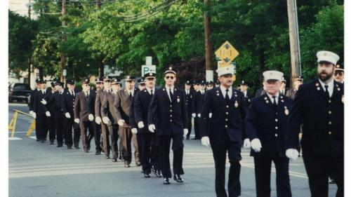 The Noroton Volunteer Fire Department on the march.