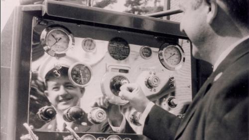 October 2, 1968 Jim Gaffney at E32 Pump Pannel