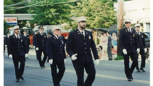 The Noroton Volunteer Fire Department on parade.